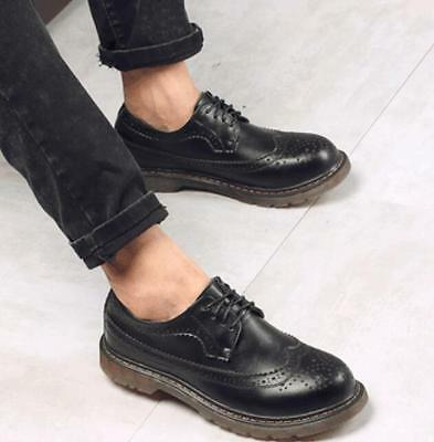 07eb74312d5ea Retro Mens Leather Oxfords British Lace Up Brogue Wing Tip Carved Shoes  Casual