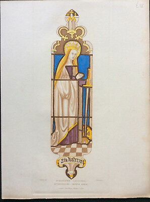 Winchester Cathedral c1844 Stained Glass, St Catherine, Carter Le Keux, original