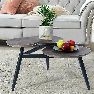 Amazing Coffee Table - Brushed Black Oak - Wood Textured Top Durable Steel Legs