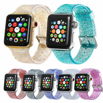 US Shiny Glitter Silicone Wrist Strap For Apple Watch 38/40/42/44mm Iwatch Band