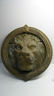 Large Antique Brass Lion Head Door Knocker