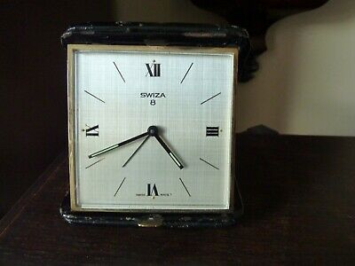Vintage SWIZA 8 Day MECHANICAL Wind-Up Travel Alarm Clock Swiss Made and in  GWO