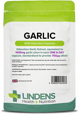 Garlic 1000mg Odourless High Strength (1000 softgel oil capsules) by Lindens