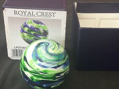 Royal Crest Paper Weight LP27363 Blue & Green Swirls