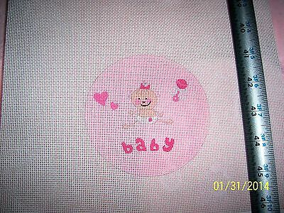 Hand Painted Needlepoint Canvas Nursery Baby Girl in Diaper Hearts Rattle cute