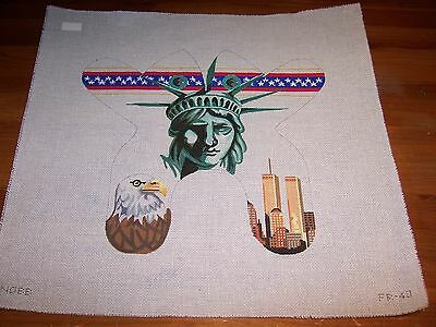 Hand Painted Needlepoint Canvas American Flag Eagle Statue of Liberty Patriotic