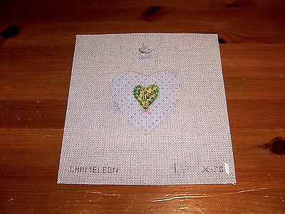 Hand Painted Needlepoint  Canvas Heart within a Heart Floral Johnny Jump Ups