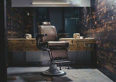 A4| Retro Barber Shop Chair Poster Size A4 Hairdresser Art Poster Gift #16171