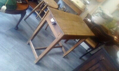 Antique Victorian Small Oak Table With Drawer