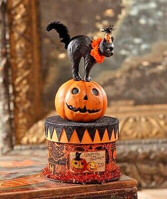 Bethany Lowe Vintage Style Halloween Black Cat On Box Container Decoration ~ New