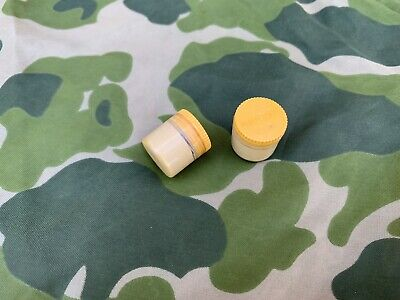 2 Original USGI WW2 M1 Garand Rifle Yellow Lubriplate Grease Pot NOS