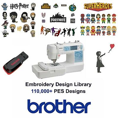 BROTHER Embroidery Designs USB Library (PES) Cards 16GB Baby Lock 2019 Update