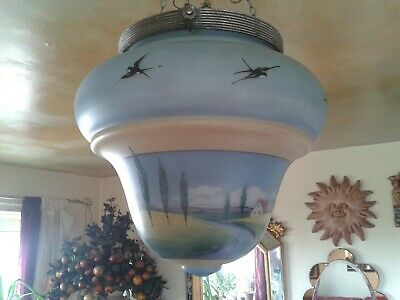 QUIRKY SUPER RARE LARGE 1910s  ART DECO HAND PAINTED CEILING LIGHT PENDANT SHADE