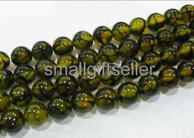2Strands 8mm Nice Yellow Fire Dragon Veins Agate Ball Loose Beads 15.5inch AS202
