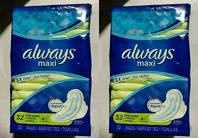 2 Packs Of Always Maxi Leakguard Rapid Dry Flexy-Wings Pads, 32 Count Each