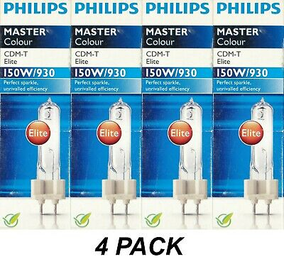 4 x Philips Mastercolour CDM-T G12 150W/930 Ceramic Metal Halide Lamp Warm White