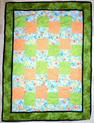 Baby Quilt Reversible Blanket Multi Color Flowers Finished Trim *Blow Out Sale*