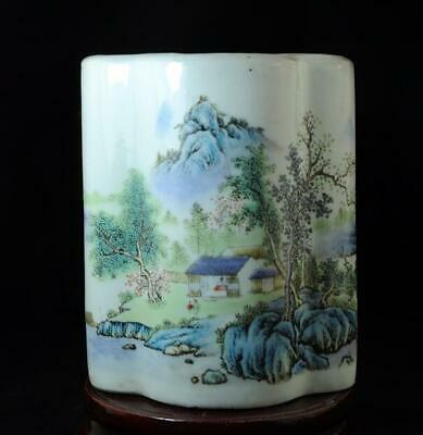 chinese old hand-made pastel porcelain hand painted landscape brush pot c01