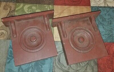 CHARMING Vintage/Antique Pair Of BARN RED Wooden Wall CORBELS/Brackets!