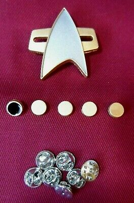 Star Trek Voyager Communicator Pin Badge Combadge Janeway DS9 TNG + Rank Pip SET