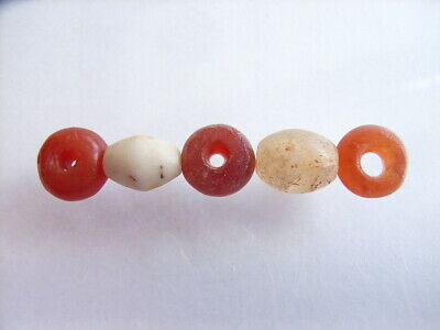 5 Ancient Roman Carnelian, Agate Beads Romans VERY RARE!  TOP !!