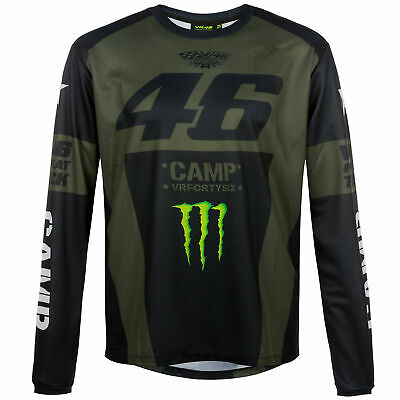 2019 Valentino Rossi VR46 Monster Camp Mens T-Shirt Long Sleeve Military Green