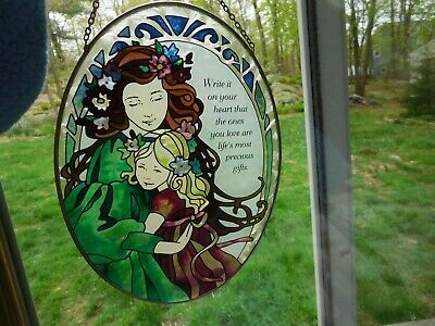"""Loving Mother & Child Hanging Oval Faux Stained Glass Sun Catcher 8 3/4"""" Tall"""