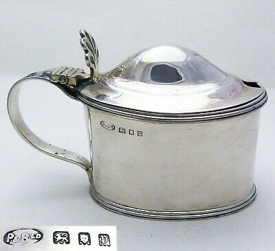 Large Sterling Silver Blue Glass Liner English Mustard Pot Cruet Georgian Style