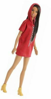 Barbie FJF49 FASHION and BEAUTY Fashionistas Doll-Red Hood Dress-Tall with Brown