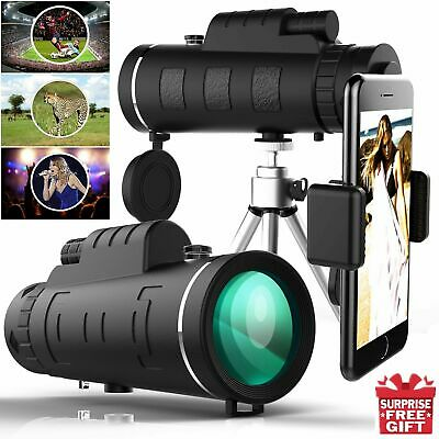 MOGE 40x60 HD Monocular Telescope Military Army Optics Zoom  +Phone Clip+Tripod