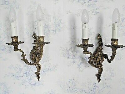 Pair Antique French Cast Bronze Flower & Scroll Leaf Double Wall Sconces 1291