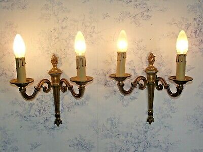 Pair Antique French Double Brass Traditional Empire Style Flame Sconces 1293