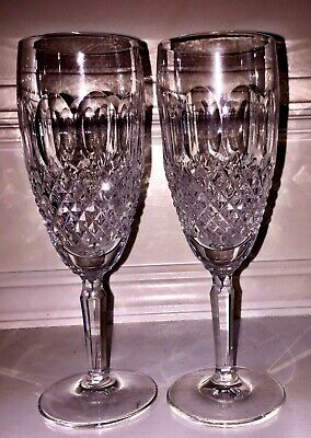 "WATERFORD CRYSTAL 2 ""COLLEEN"" (TALL STEM) CHAMPAGNE FLUTES (Set Of Two)"