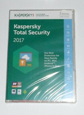Kaspersky Total Internet Security 2017 Multi Device 3 User 1 Year Retail Box