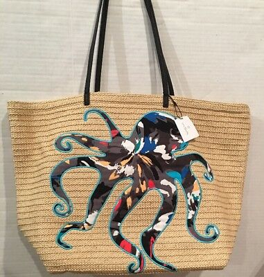 NEW Vera Bradley Seashore Tote Splash Floral Octopus Beach Travel Bag with Tags