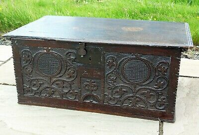 Large 17th Century Carved Oak Chest Bible Deed Box