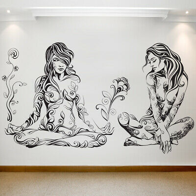 Large wall decal two girls in meditation Removable Waterproof Vinyl Transfer 076