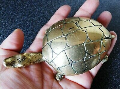 Cute Little Solid Brass Turtle Statue.11cmx6cmx3.2cm,W-230g.Gorgeous Ornament