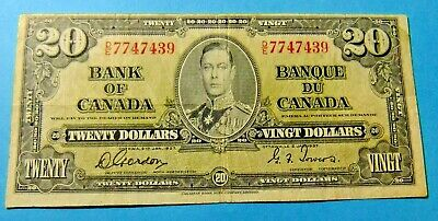 1937 Bank of Canada 20 Dollar Note - Grade VF
