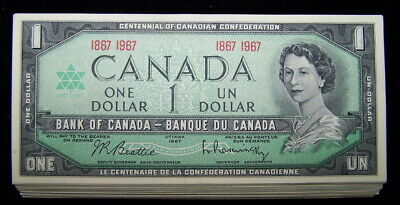 BANK OF CANADA 1967 $1 NOTES  BC-45a  EF+ to AU *10 PCS LOT*