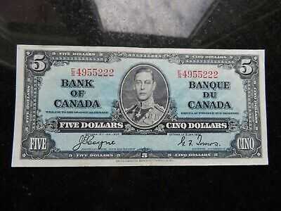 1937 BANK OF CANADA $ 5 FIVE DOLLARS BC-22c COYNE TOWERS E/S 4955222