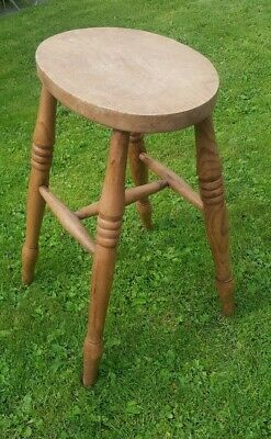 Vintage / Antique Oak Stool Oval Wooden Kitchen Stool. Good Quality Used.