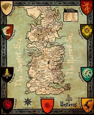156657 Game Of Thrones Houses Map Westeros New Wall Poster Print AU