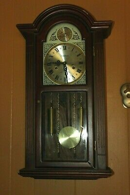 "Vintage Waltham Tempus Fugit 31 Day Chime Wall Clock -27"" Tall"
