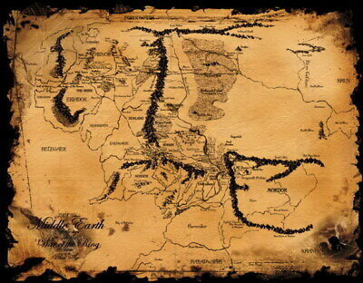 158943 Map of Middle Earth Lord Of The Rings Hobbit Wall Poster Print AU