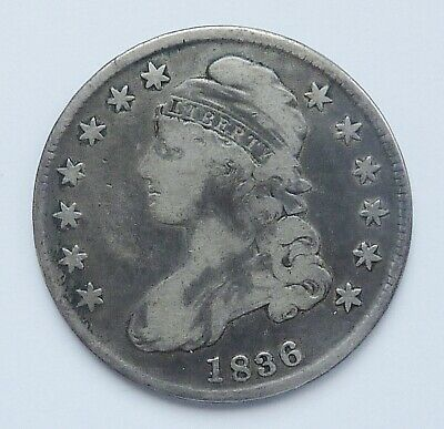 1836 U.s. Capped Bust Half Dollar ~ Lettered Edge ~ Very Good Condition
