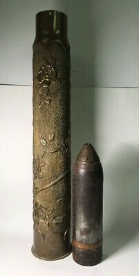 Large WWI WW1 United States Trench Art Artillery Shell Projectile Flowers Roses