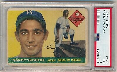 SANDY KOUFAX 1955 Topps #123 RC ROOKIE Graded PSA 1 DODGERS HOF Presents Nicely