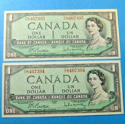 2 Consecutive 1954 Bank of Canada 1 Dollar Notes - AU/UNC