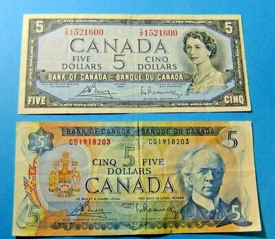 2 Bank of Canada 5 Dollar Notes - 1954 & 1972